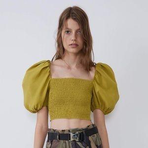 NEW Zara Puff Sleeve Cropped Blouse Crop Top NWT